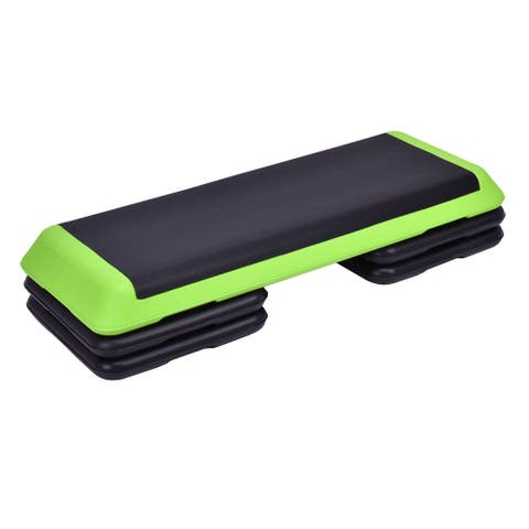 """Fitness Aerobic Step 43"""" Cardio Adjust 4"""" - 6"""" - 8"""" Exercise Stepper - Green"""