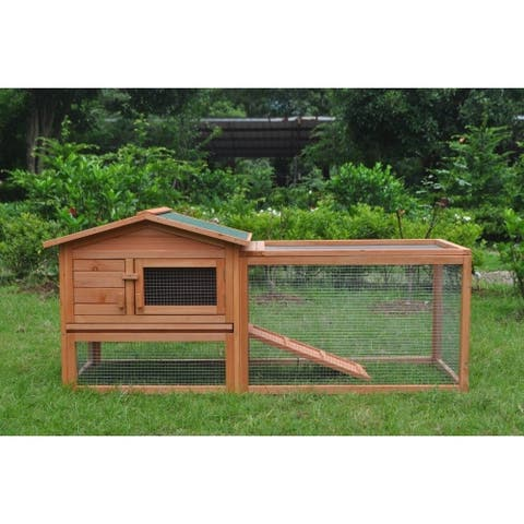 ALEKO Chicken Hen Coop Bunny Hutch Small Pet House 62x23x30 inches