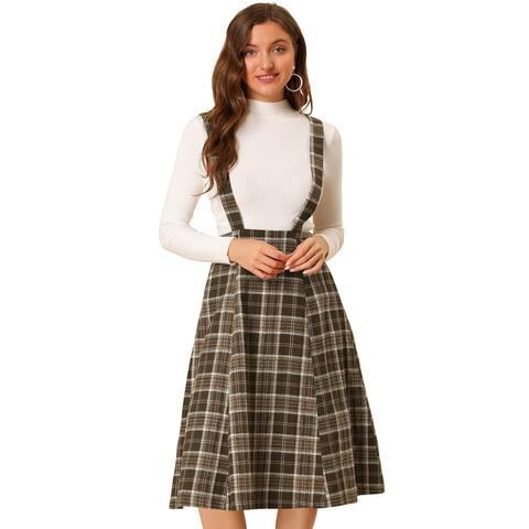 Women Vintage Plaid A-Line Overall Suspender Midi Skirt
