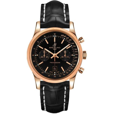 Breitling Men's R4131012-BC07-728P 'Transocean' Chronograph Black Leather Watch