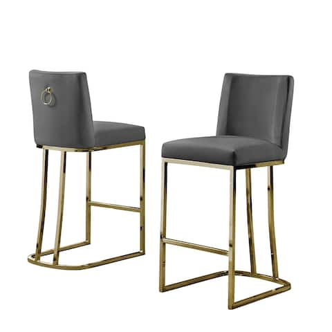 Best Quality Furniture Counter Height Chair with Gold Stainless Steel Base (Set of 2)