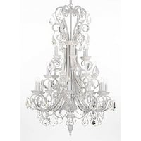 White Wrought Iron & Crystal Chandelier Lighting With Crystals