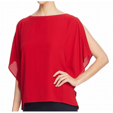 Eileen Fisher Women's Blouse Red Size Large L Silk Ruffle Boat-Neck
