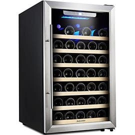 Kalamera Wine Cooler 50 Bottle Single Zone Refrigerator with Digital Temperature Display|https://ak1.ostkcdn.com/images/products/is/images/direct/2a356534f088d4978ea57e22a5a18b8f6c0b9a61/50-Bottle-Stainless-Steel-Wine-Cooler%2C-Kalamera-Glass-Door-Refrigerator-with-Digital-Temperature-Display.jpg?impolicy=medium