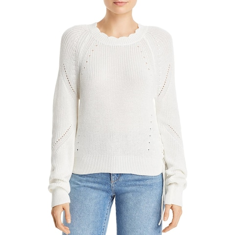 Aqua Womens Pullover Sweater Scalloped Lace-Up - White - M