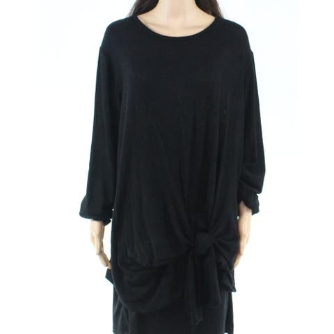 Gibson Womens Top Deep Black Size 2X Plus Knit Tie-Front Scoop Neck