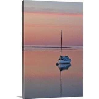 """""""Sailboat and buoy at sunset."""" Canvas Wall Art"""