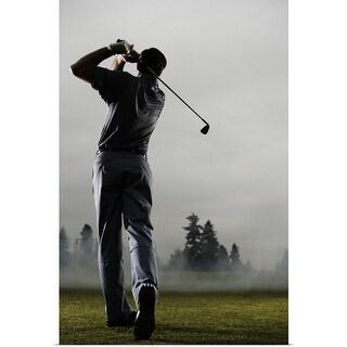 """Man playing golf, rear view"" Poster Print"
