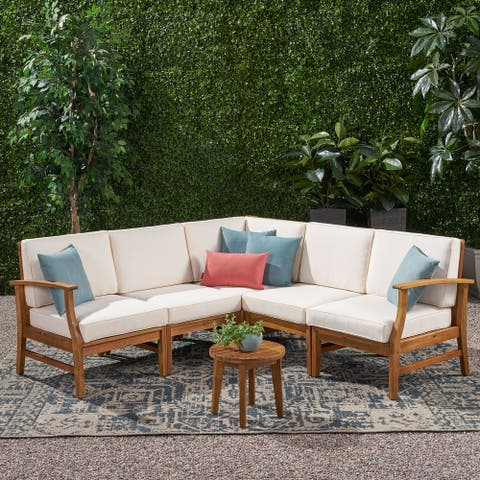 Perla Outdoor 5-pc. Cushioned Acacia Chat Set by Christopher Knight Home
