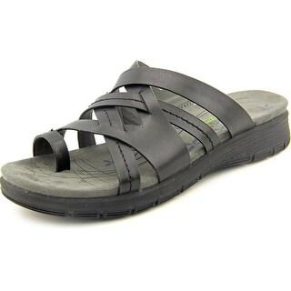 Baretraps Cassy Women Open Toe Leather Black Slides Sandal