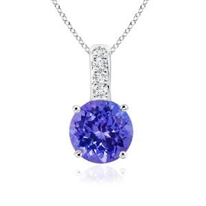 Angara Solitaire Round Tanzanite Pendant with Diamond Bail - Blue/White