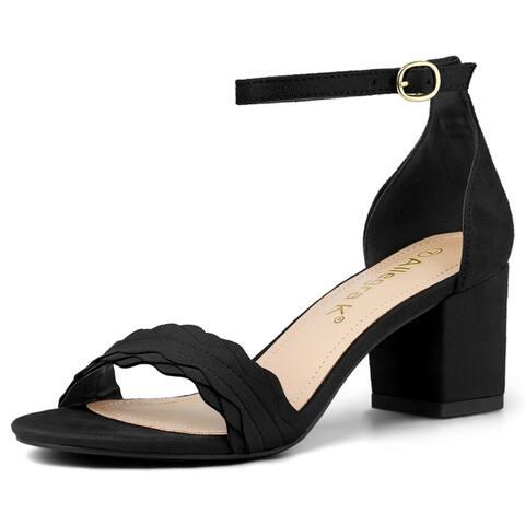 Women's Buckle Ankle Strap Low Block Heel Sandals