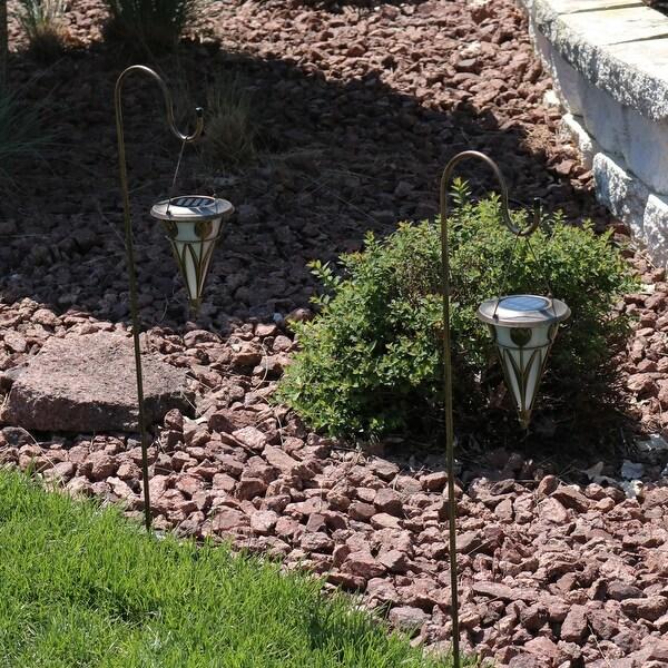 Set of Two - Decorative Cone Outdoor Hanging Solar Light & Shepherd Hook