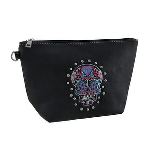 Faux Leather Embroidered Day of the Dead Sugar Skull Zipper Bag 6 X 6 1/2