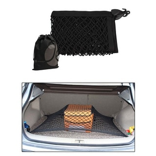 JAVOedge Full Size Black 3' x 2' Car or Truck Trunk Net with Hooks for Travel, Storage and Bonus Drawstring Storage Bag