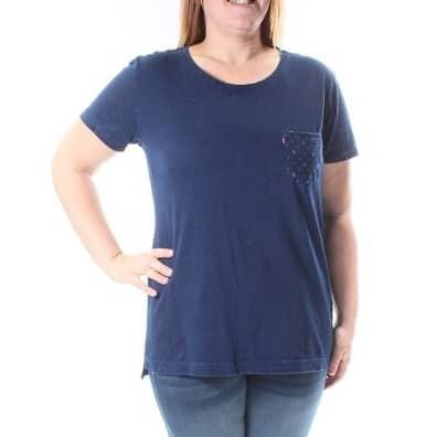 Levi's Womens Blue Geometric Short Sleeve Jewel Neck T-Shirt Top Size: S
