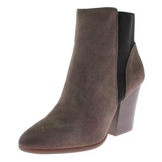 Carlos Santana Womens Encore Ankle Boots Suede Stacked Heel