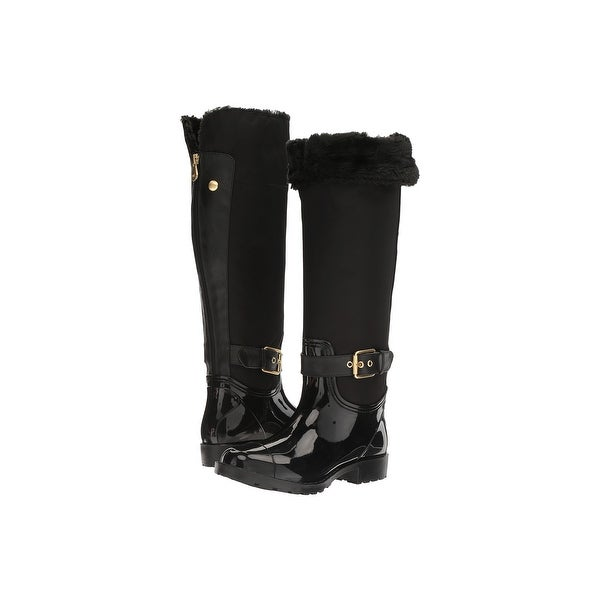 Marc Fisher Womens Calisa Almond Toe Knee High Rainboots, Black Fabric, Size 8.0
