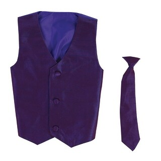Baby Boys Purple Poly Silk Vest Necktie Special Occasion Set 3-24M