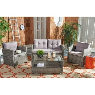 Safavieh Weather-Resistant Outdoor Living Cushioned Brown ... on Safavieh Outdoor Living Montez 4 Piece Set id=38765