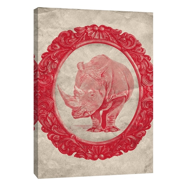 "PTM Images 9-105915 PTM Canvas Collection 10"" x 8"" - ""Framed Rhinoceros in Crimson"" Giclee Rhinoceroses Art Print on Canvas"
