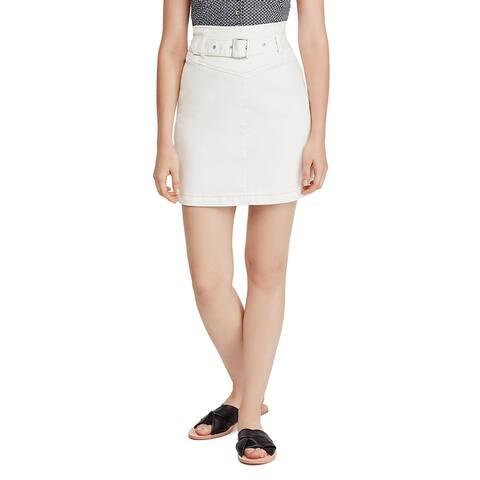Free People Womens Livin' It Up Pencil Skirt Stretch Split Hem - White