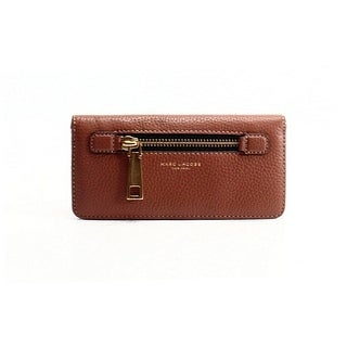 Marc Jacobs NEW Brown Pebble Leather Open Face Bifold Cardholder Wallet