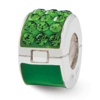 Sterling Silver Reflections Refletions Green Swarovski Elements Bead (4mm Diameter Hole)