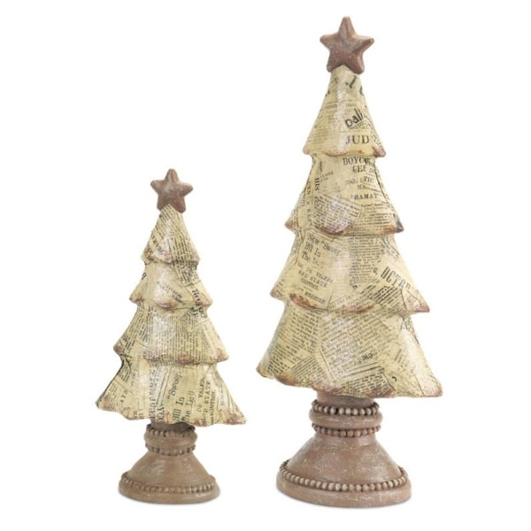 Set of 2 Unique Newspaper Print Table Top Christmas Tree Decorations