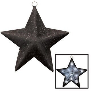"""16"""" Black and Silver Glittered Light-Up County Western Sparkle Star"""