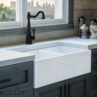 Luxury 33 inch Modern Fireclay Farmhouse Kitchen Sink in White, Double Bowl with Flat Front, includes Stainless Steel Drain