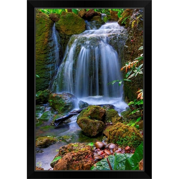"""Waterfall in Tropical Rainforest of Fairchild Tropical Gardens."" Black Framed Print"