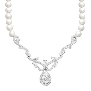 5 ct White Topaz and Freshwater Pearl Necklace in Sterling Silver