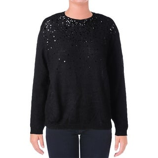 DKNY Womens Pullover Sweater Wool Blend Sequined