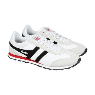 Gola Boston Mens White Suede Sneakers Lace Up Shoes