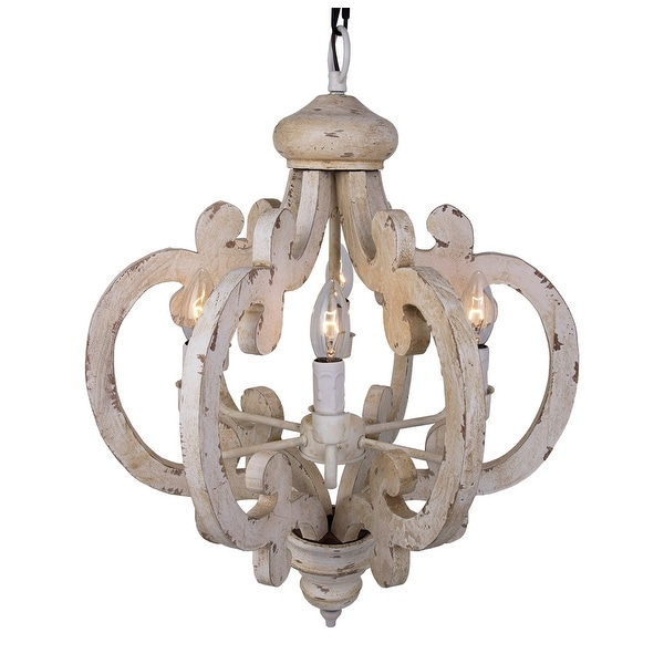 wood chandelier lighting.  Wood Distressed Antique White 6Light Wood Chandelier In Lighting T