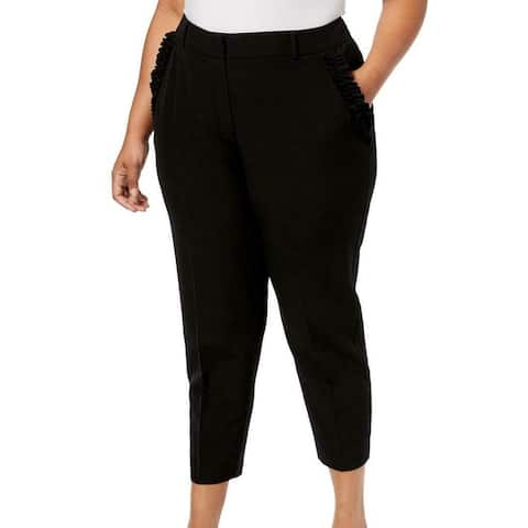 NY Collection Womens Dress Pants Black Size 3X Plus Ruffle-Trim Cropped
