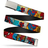 Marvel Comics blank Chrome Buckle Spider Man Cartoon Webbing Web Belt