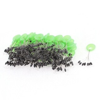 Unique Bargains 100 Pcs Plastic Green Ring Black Rubber Float Fishing Angling Bobber Stopper