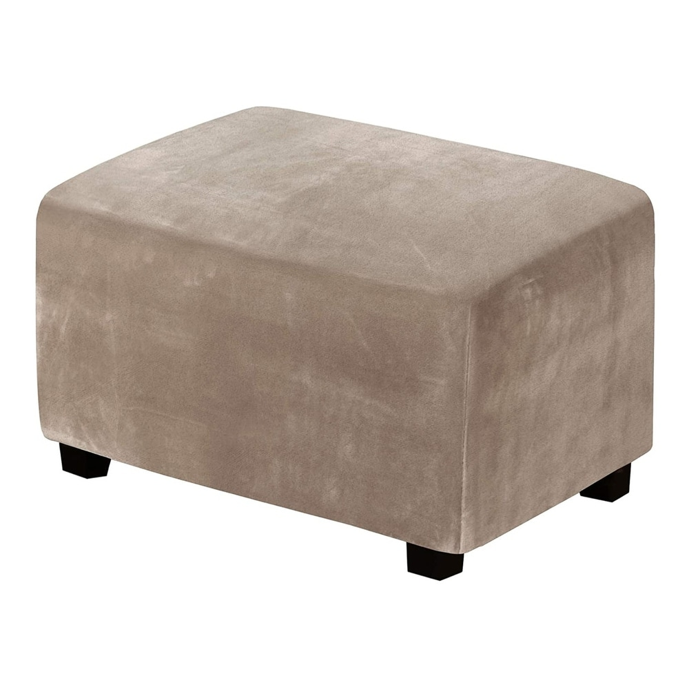 Velvet Stretch Ottoman Covers Ottoman Slipcovers for Living Room Foot Stool Stretch Covers Ottoman Foot Rest Cover Furniture Cover with Soft Thick Solid Velvet Plush Fabric Ivory,Large