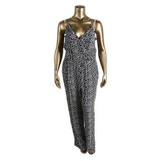 Vince Camuto Womens Printed Surplice Jumpsuit - L