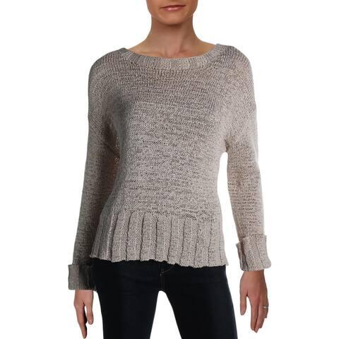 Philosophy Womens Pullover Sweater Ribbed Trim Crew Neck - Hemp - S