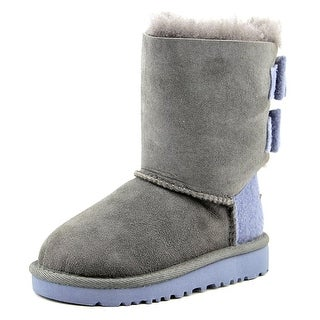 Ugg Australia Bailey Bow Wool Toddler Round Toe Canvas Gray Winter Boot