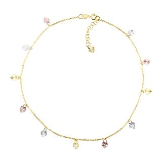 Just Gold Heart Charm Anklet in 10K Three-Tone Gold