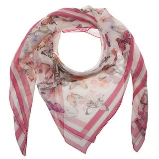 Alexander McQueen Pink Multi Silk Chiffon Large Butterfly Roar Animal Scarf