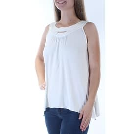 STUDIO M Womens White Cut Out Sleeveless Trapeze Top Size: M