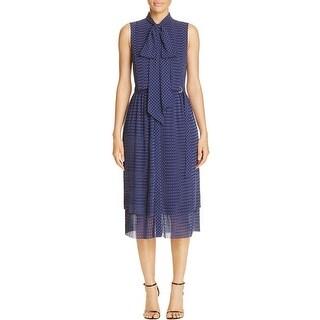 MICHAEL Michael Kors Womens Shirtdress Pleated Polka Dot