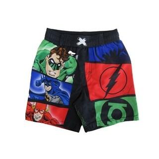 Dc Comics Little Boys Black Justice League Swim Shorts