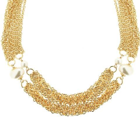 "Bronzoro 18 k Gold Overlay 22"" Multi Strand Large Baroque Necklace"