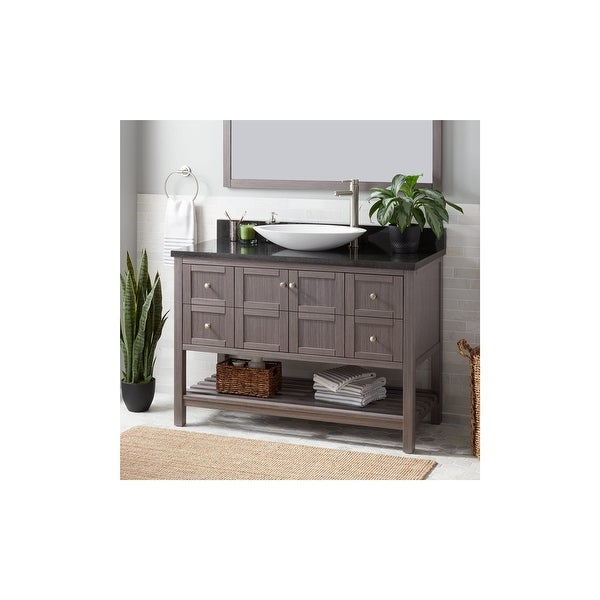 Signature Hardware 941123 R Everett 48 Single Vanity Set With Wood Cabinet And Stone Vanity Top Right Side Faucet Hole N A